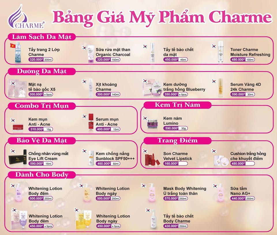 Bảng giá bán lẻ mỹ phẩm Charme