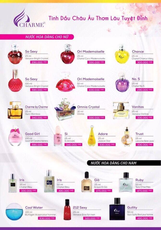 Bảng giá bán lẻ nước hoa Charme